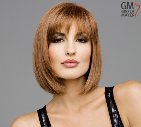 Wigs, synthetic hair, medium, straight, monofilament and wefted