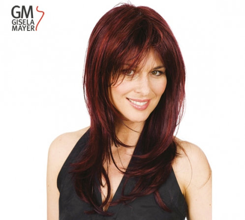 Wigs, synthetic hair, long, straight, monofilament and wefted